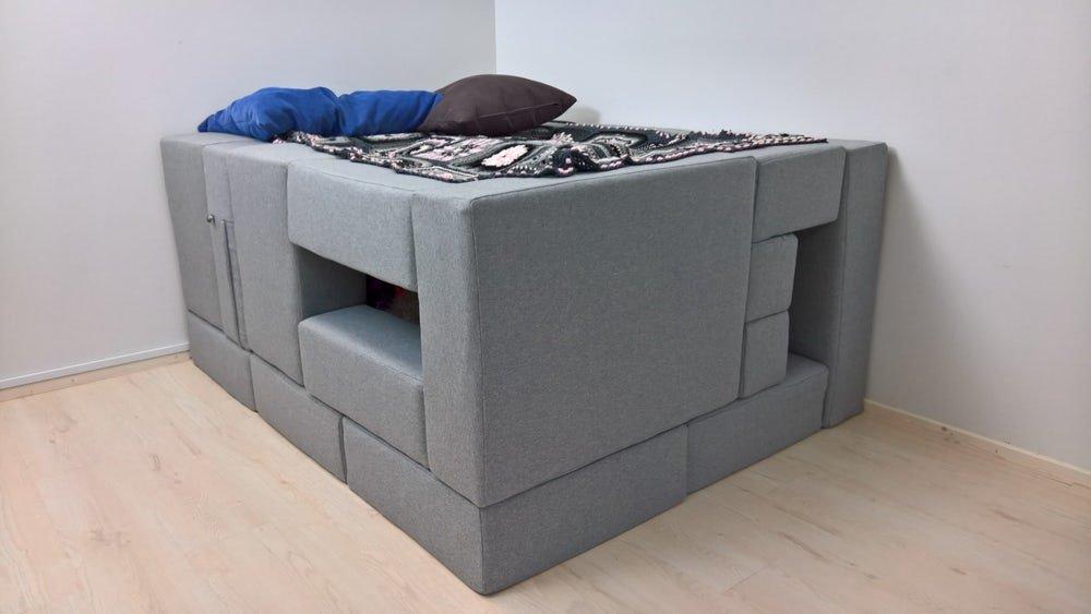 Чудеса трансформации мобильной модульной мягкой мебели. Кровать
